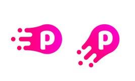 Marquez avec des lettres l'abrégé sur logo de P pour diriger la baisse liquide de bulle illustration stock
