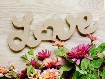 marquez avec des lettres l'amour des textes pour exprimer sur le fond en bois avec la copie de l'espace Images libres de droits