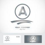 Marquez avec des lettres l'icône de logo de gris argenté d'A Images stock