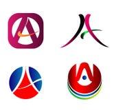 Marquez avec des lettres la conception graphique réglée par icônes de vecteur de logo d'A Photographie stock libre de droits