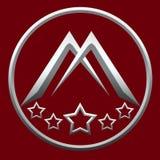 Marquez avec des lettres le cercle de M et cinq étoiles pour Logo Company Silver Black Photos libres de droits