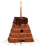 Marquez avec des lettres le gâteau d'anniversaire formé par A de chocolat Images libres de droits
