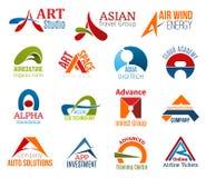 Marquez avec des lettres une identité d'entreprise, icônes d'affaires illustration stock