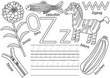Marquez avec des lettres Z Éducation pour des enfants Étude de l'alphabet anglais illustration stock
