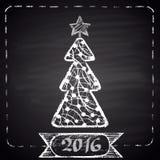 Marquez l'illustration tirée avec l'arbre de Noël blanc, cadre pointillé, ruban et textotez à la craie '2016' Thème de bonne anné Image stock