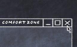 Marquez le dessin à la craie de la fenêtre sur l'écran d'ordinateur Concept d'arrêter la zone de confort illustration libre de droits