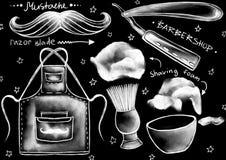 Marquez les instruments de style, les outils, les meubles, et les mots à la craie tirés de calligraphie sur le fond de noir mat illustration stock