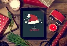 Marquez sur tablette faux avec un copyspace pour Noël Applica de Noël Photo stock
