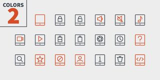 Marquez sur tablette le pixel d'UI le vecteur Bien-ouvré que parfait rayent légèrement les icônes 48x48 prêtes pour la grille 24x illustration libre de droits