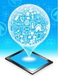 Marquez sur tablette le réseau social Image libre de droits