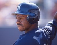 Marquis Grissom. Star outfielder for the Milwaukee Brewers. Image taken from color slide royalty free stock photo