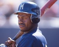 Marquis Grissom. Star outfielder for the Milwaukee Brewers. Image taken from color slide royalty free stock image