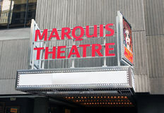 Marquis Theatre. Is a broadway theatre located inside the Marriott Marquis Hotel. It's one of the newest theatres to be built on Broadway stock photography