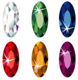 Marquise cut precious stones with sparkle. Illustration of marquise cut precious stones with sparkle isolated on white Royalty Free Stock Image