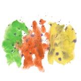 Marrón amarillo verde púrpura del chapoteo del extracto de la acuarela el descenso de la acuarela aisló la mancha blanca /negra p Imágenes de archivo libres de regalías