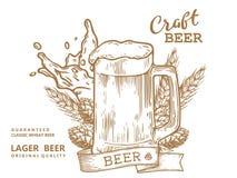 Marrón de la taza de los comp de la cerveza Imágenes de archivo libres de regalías