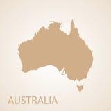 Marrón del mapa de Australia Imagen de archivo