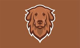 Marrón del vector del logotipo de la cabeza de perro único Foto de archivo libre de regalías