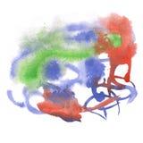 Marrón del verde azul del chapoteo del extracto de la acuarela el descenso de la acuarela aisló la mancha blanca /negra para su a Imagen de archivo libre de regalías