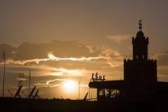 Marrakech au-dessus de coucher du soleil Images libres de droits