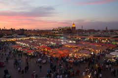 Marrakech Djemaa El Fna sunset Stock Photography