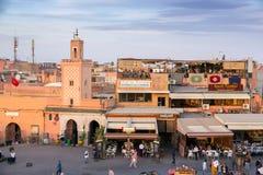 Marrakech Marocko fyrkant Arkivbild