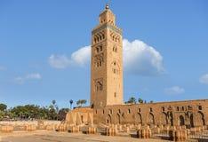 marrakech Marocko, Koutoubia moské Royaltyfria Foton