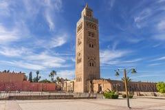 marrakech Marocko, Koutoubia moské Arkivbild