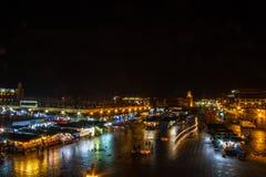 Marrakech, Maroko, 8 2017 Wrzesień, Jemaa el Fna nocą Zdjęcie Royalty Free