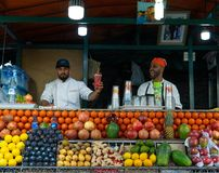 Free Marrakech, Morocco - 15 JAN 2019: Two Happy Arabic Fruit Fresh Juice Sellers On Jemma El Fna Square In Marrakesh Royalty Free Stock Photo - 160549165