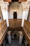 Ben Youssef Madrasa Marrakesh. MARRAKECH, MOROCCO - APR 29, 2016: Detailed inside view of the Ben Youssef Madrasa. A former Islamic college in Marrakesh, Morocco Stock Image