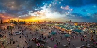 Jamaa el Fna market square. Marrakech, Morocco – April 29, 2019: Jamaa el Fna market square, Marrakesh, Morocco, north Africa stock images