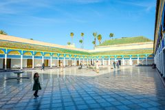 Courtyard of Bahia palace, Marrakech. MARRAKECH, MOROCCO - DECEMBER 11: Backyard of Bahia palace and set of gardens in Marrakech. December 2016 Stock Image