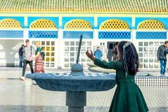 Courtyard of Bahia palace, Marrakech. MARRAKECH, MOROCCO - DECEMBER 11: Backyard of Bahia palace and water fountain in Marrakech. December 2016 Stock Photography