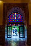 Colorful door at Bahia palace, Marrakech. MARRAKECH, MOROCCO - DECEMBER 11: Colorful door of Bahia palace overlooking the gardens. December 2016 Royalty Free Stock Photo