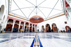 Marrakech, MOROCCO - February 10, 2012 - Impressive Musée de Marrakech courtyard located in Mnebhi Palace Royalty Free Stock Photo