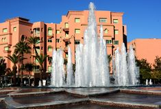 Fountains at the Avenue Mohammed VI in the city of Marrakesh Stock Photos