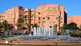 Fountains at the Avenue Mohammed VI in the city of Marrakesh Stock Photo