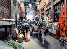 MARRAKECH, MOROCCO, JUNE 2016: daily life on the streets of the Royalty Free Stock Photo
