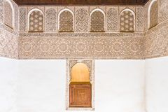 Inside view of Ali Ben Youssef Medersa, old school inn Morocco stock photos