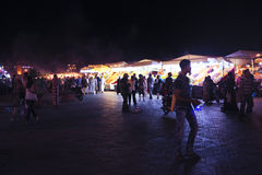MARRAKECH - MOROCCO, 22 OCTOBER 2013:Jamaa el Fna is a square an Royalty Free Stock Photos