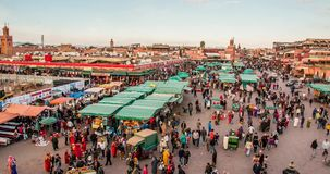 MARRAKECH, MOROCCO timelapse People on Jemaa el Fna square and market place in medina quarter 07 january, 2017 stock footage