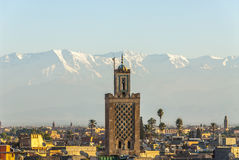 Marrakech and Atlas mountains in Morocco Stock Photos