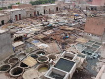 Marrakech tannery. Where the leather is dyed to makes the countless products sold in the Marrakech souks Royalty Free Stock Photography