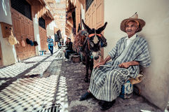 MARRAKESCH, MOROCCO, JUNE 2016: old moroccan in traditional clot Royalty Free Stock Photography