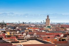 Marrakesh aerial view. Marrakesh aerial panoramic view. Marrakesh is a major city of Morocco Stock Photography