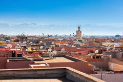 Marrakesh aerial view. Marrakesh aerial panoramic view. Marrakesh is a major city of Morocco royalty free stock photos