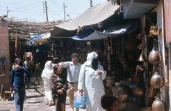 Marrakesh basar. cobberstreet. Royaltyfri Bild