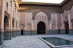 Marrakesh Ben Youssef Medersa. The Ben Youssef Medersa, an Islamic school attached to the Ben Youssef Mosquein in Marrakesh Stock Photo