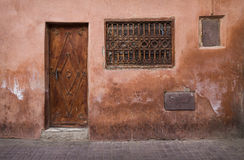 Marrakesh. A door an a window in the Medina of Marrakesh, Morocco, North Africa royalty free stock photo